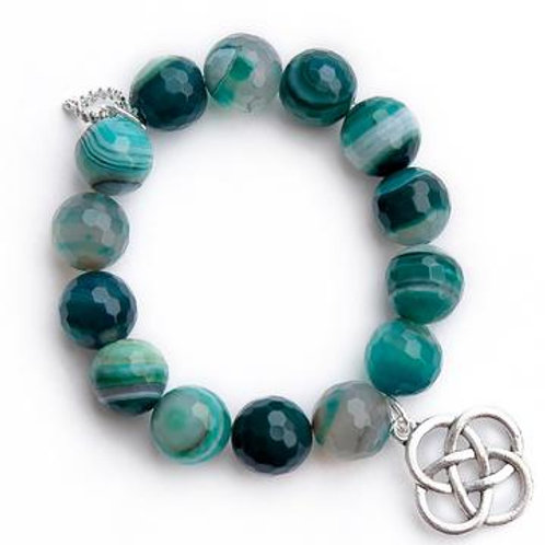 Powerbeads by Jen Faceted Teal striped agate paired with a silver Celtic knot