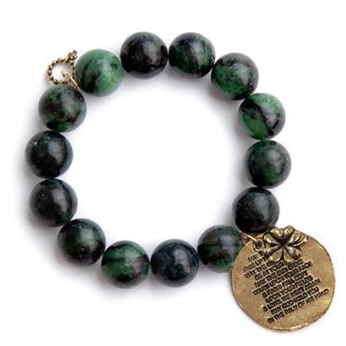 Powerbeads by Jen O'Malley Jasper with Irish Blessing and brass clover