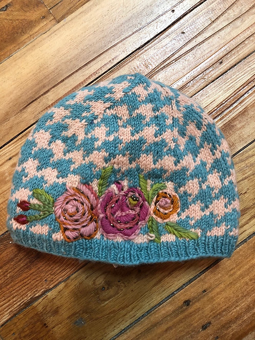 Angora Hand Dyed Beanie Hat with beaded embellishments