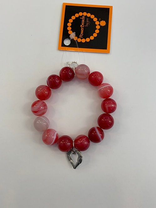 Power Beads by Jen -Watermelon striped agate paired with silver angel wings hear