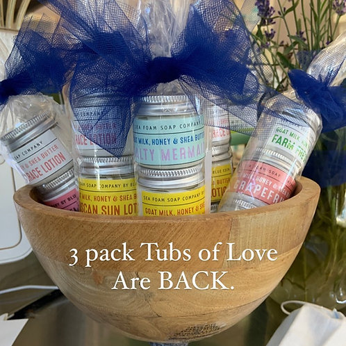 3 Pack Tubs of Love Travel Size Lotion