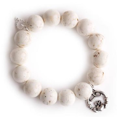Powerbeads by Jen Creamy white howlite paired with a silver claddagh