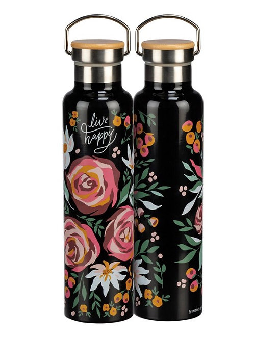Insulated Bottle - Live Happy (drink more wine)