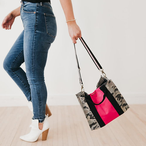 Camo Tote with Pink Stripe and Guitar Strap