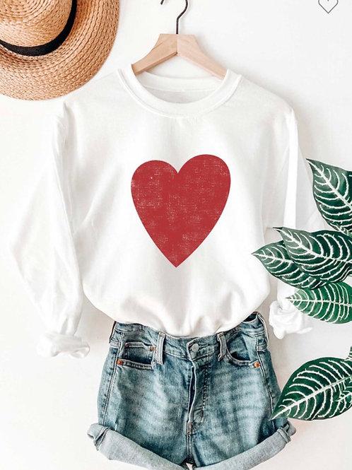 RED HEART GRAPHIC SWEATSHIRT