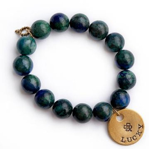 Powerbeads by Jen Killarney jasper paired with a bronze hand stamped Lucky medal