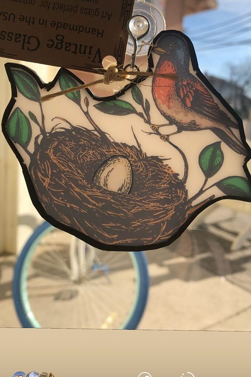 Robin and nest - Sun Catcher