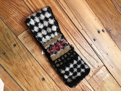 Hand Dyed Headband (earwarmers) - Black Check