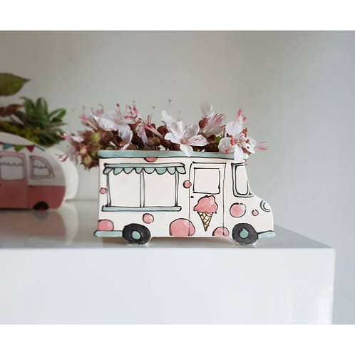 Vintage Ice Cream Truck - Planter by Julie Richards