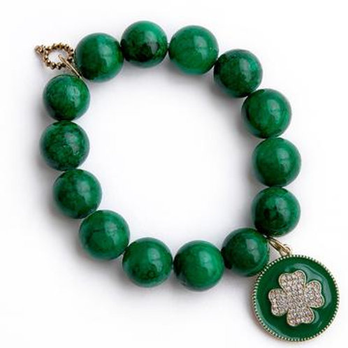 Powerbeads by Jen Kelly Green agate paired with a green enameled shamrock