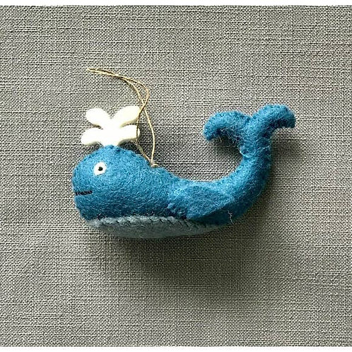 Whale Felted Ornament