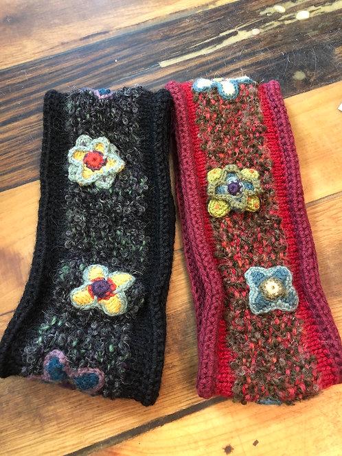 Alpaca Wool Headband with crochet flowers