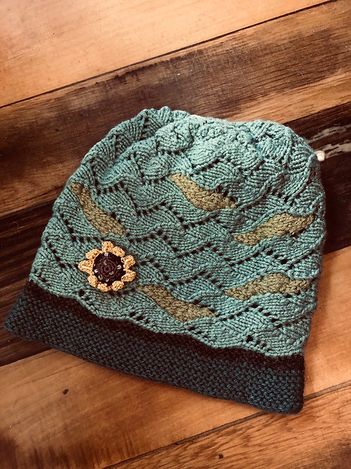 Alpaca Handknitted & hand dyed Hat with crochet flower