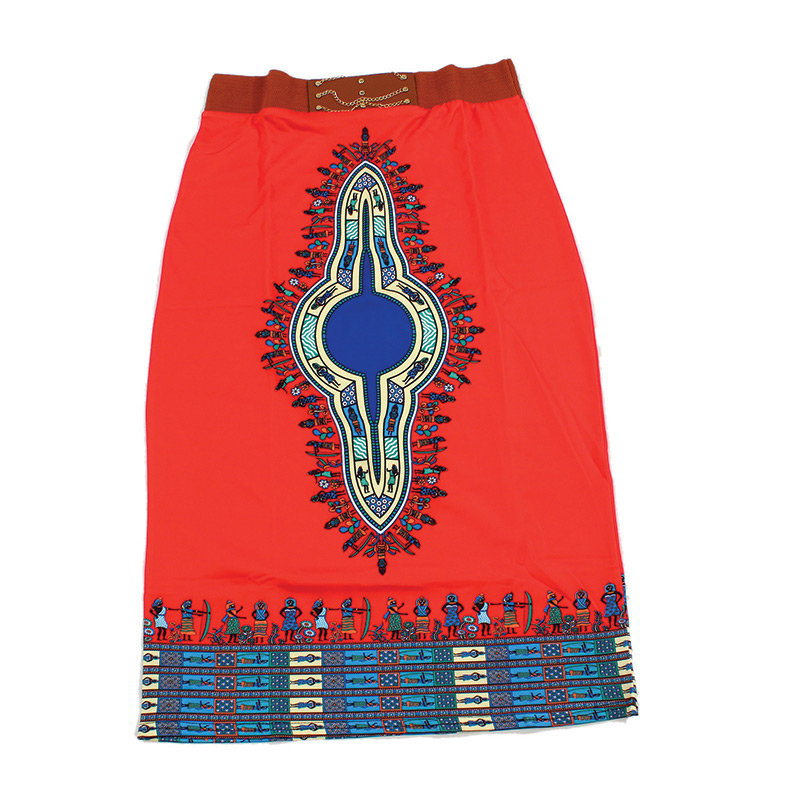 Traditional Print Stretch Skirt