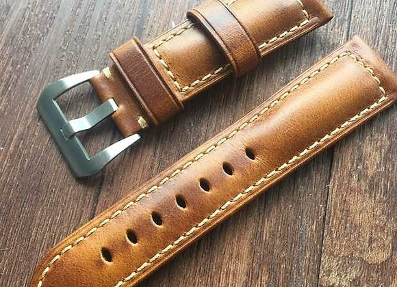 Brown wax leather watchstrap
