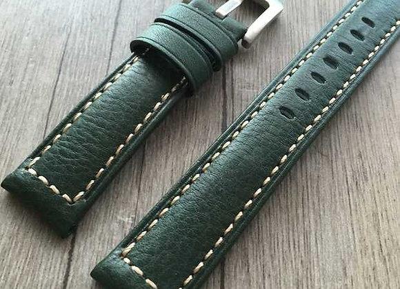 Green wax-skin watch strap