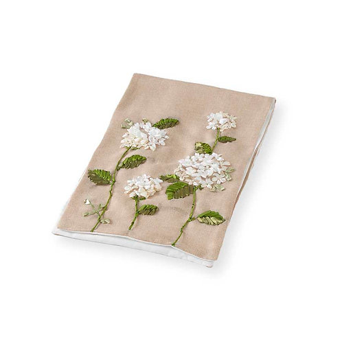 Linen Table runner with hydrangea embroidery