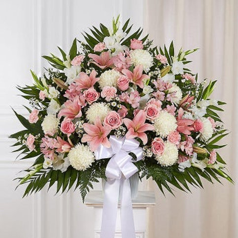 Heartfelt Sympathies Pink and White Standing Basket