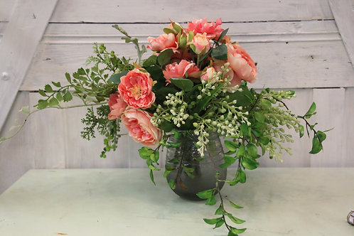 Coral silk arrangement