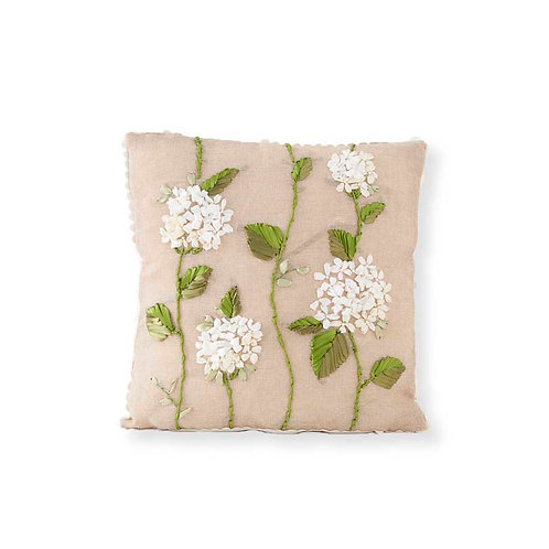 Square Linen Pillow w/hydrangea Embroidery