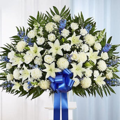 Heartfelt Sympathies Blue and White Standing Basket