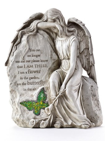 Memorial Sitting Angel/Butterfly Garden Stone