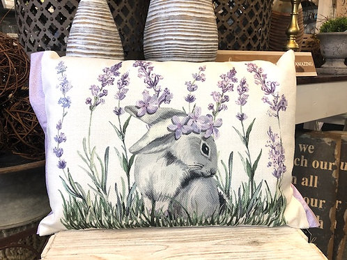 13 Inch Rectangular Lavender and Bunny Pillow