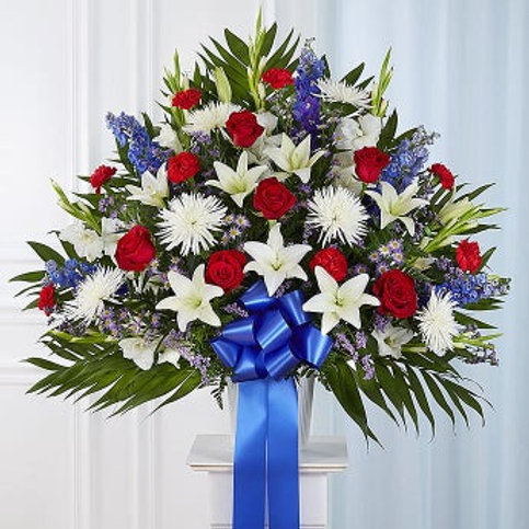 Heartfelt Sympathies Red, White and Blue Standing Basket