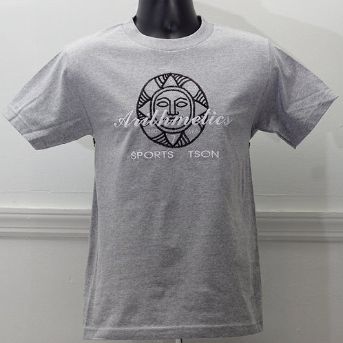 Face of Numbers  TEE  (Black and White on Grey )
