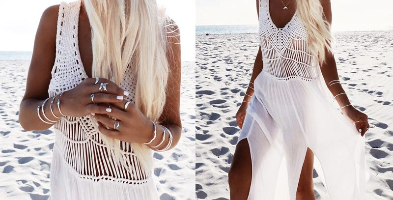 White Boho Hippie Braided Front Split Beach Dress