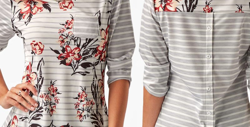 Grey Stripe Floral Print Button Back Casual Top