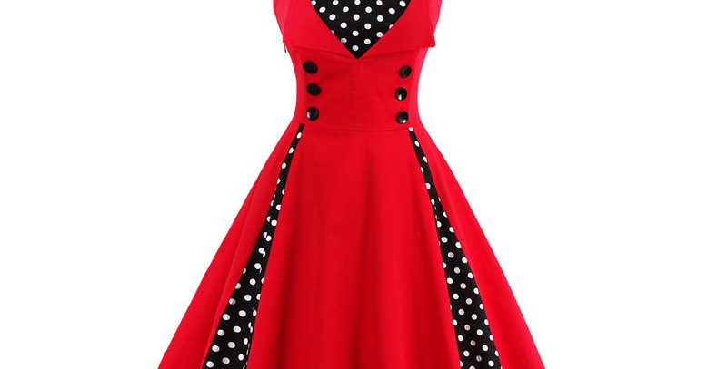 Red Polka Dot Vintage Retro Party Dress