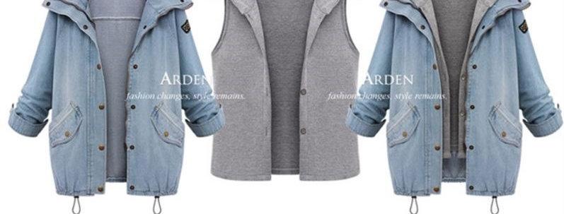 Fashion Mix n Match 2 Layer Denim Hoodie Jacket Coat
