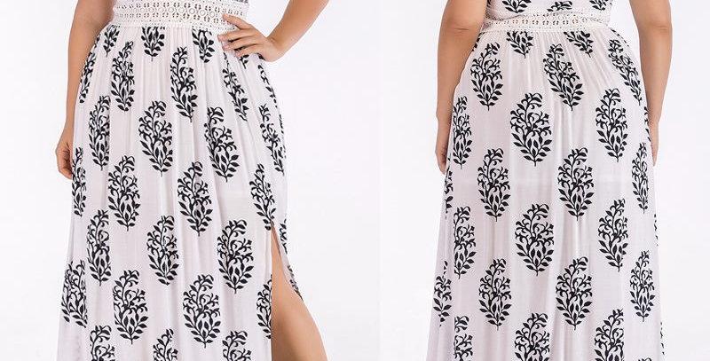 White Boho Thigh Split Maxi Long Party Dress