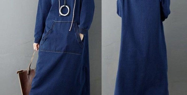 Blue Denim Casual Hoodie Long Dress w Pocket