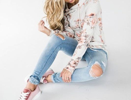 White Blossom Charm Floral Casual Hoodie