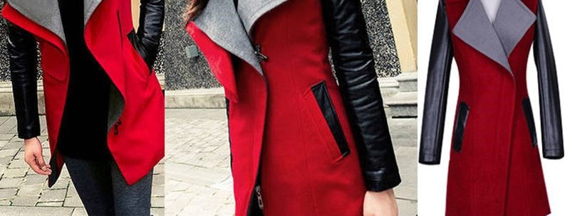 Red PU Leather Side Zip Winter Jacket