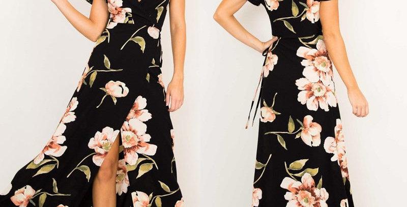 Black Blossom Floral Front Split Goddess Maxi Long Dress