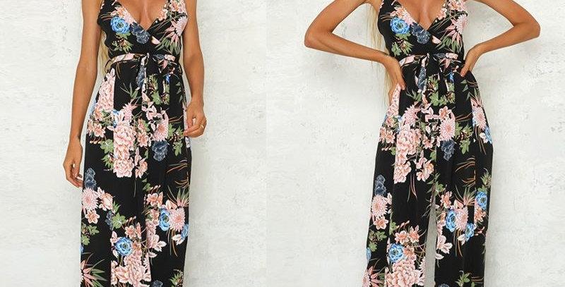Black Boho Floral Open Wide Leg Boutique Playsuit