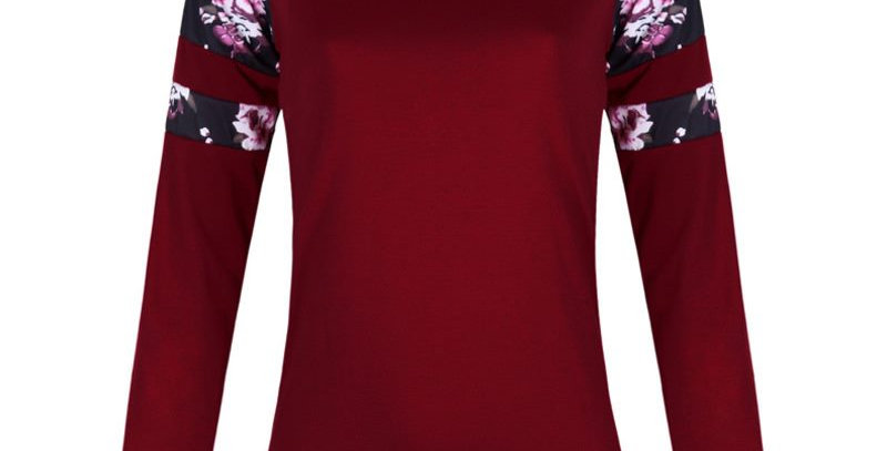 Fashion Red Floral Long Sleeve Top