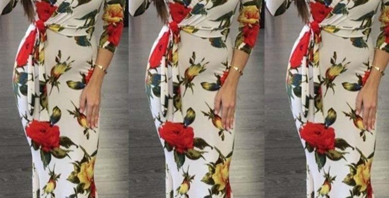 Floral Wrap Style Tie Waist Maxi Long Party Dress