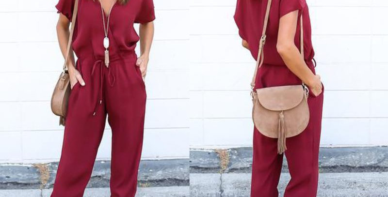 Red Casual Tie Waist Pocket  Jumpsuit