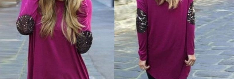 Magenta Asymmetrical Casual Blouse Top w Glitter Sleeves