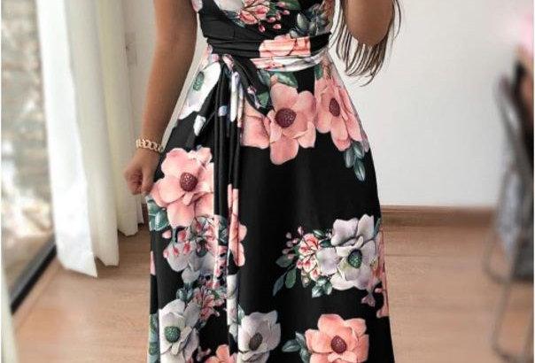 Black Blossom Floral Tie Waist Party Dress
