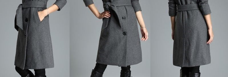 Grey Fold Collar Long Winter Coat.