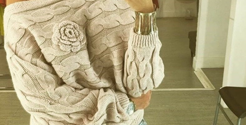 Off Shoulder Twisted Cable Floral Pattern  Sweater