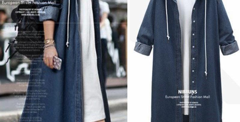 Blue Denim Hoodie Trench Coat