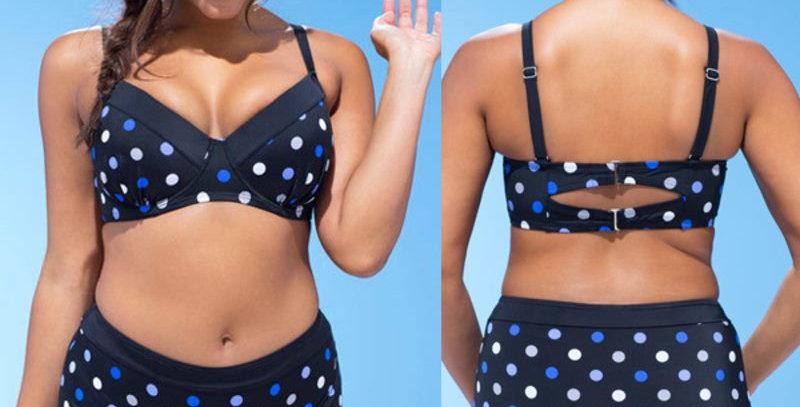 Blue Polka Dot High Waist Bandeau Bikini Set