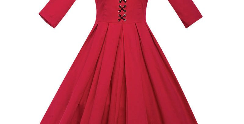 Red Vintage Retro Red Party Dress