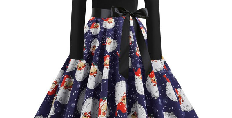 Black & Blue Festival Christmas Theme Flared Party Dress